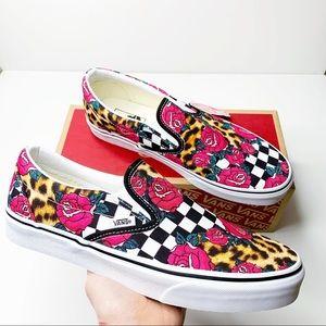 Vans Rose Animal Leopard Check Slip On Sneakers